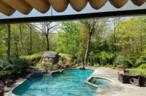 Corradi Pergotenda Kubo Over looking the pool in Larchmont, New York