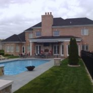 Closed Retractable Awning Poolside