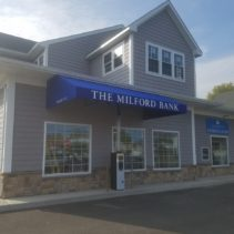 A New Milford Bank Gets Custom Shed Awnings Installed
