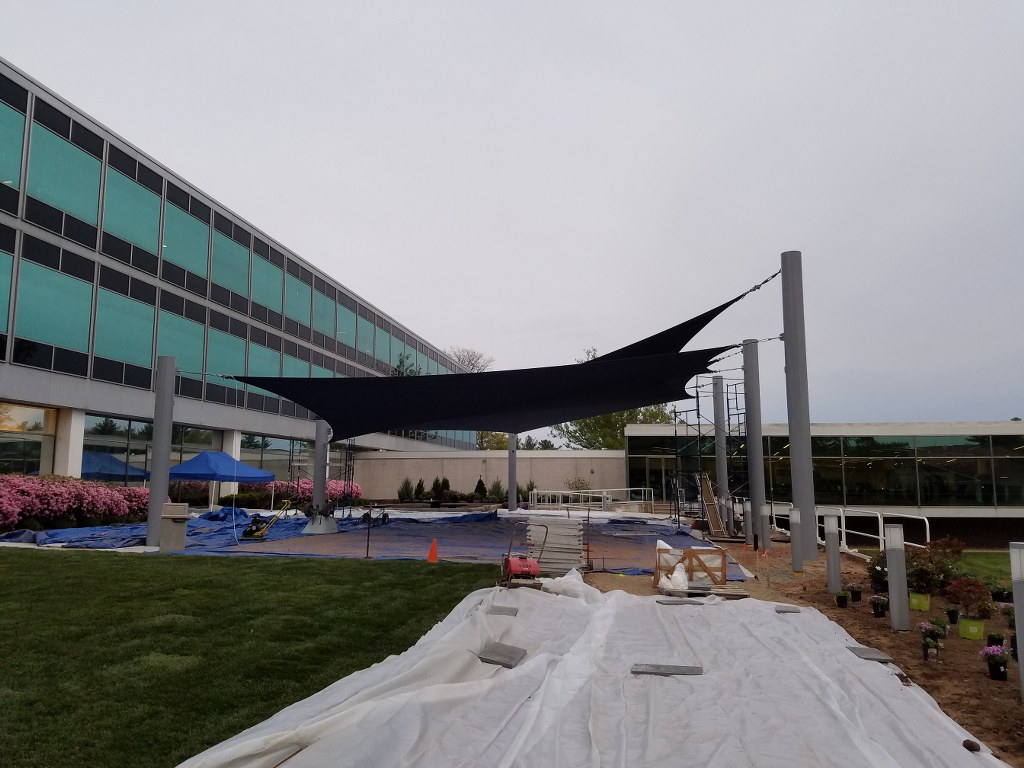 Cigna S Shade Sail Project Has Begun New Haven Awning
