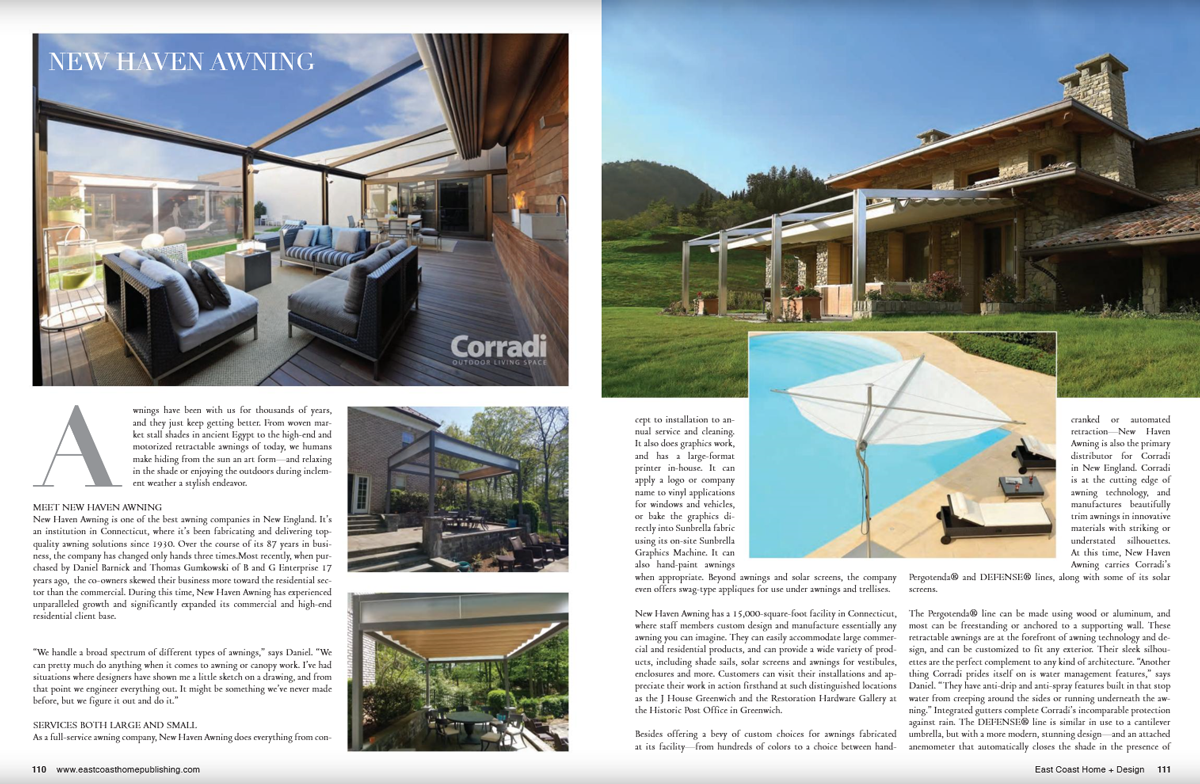 New Haven Awning Featured in East Coast Home + Design Magazine ... on jungle home design, river home design, western home design,
