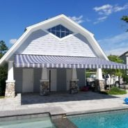 A New Poolside Retractable Awning In Greenwich, CT.